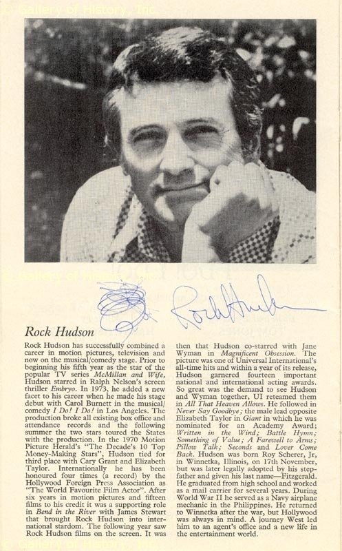 Rock Hudson Memorabilia The Rock Hudson Project